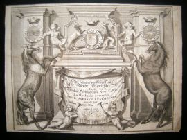 Cavendish Equestrian 1700 Engraved Title Page. Horses